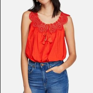 Free People Clover Croft Cropped Bright Roxy Top